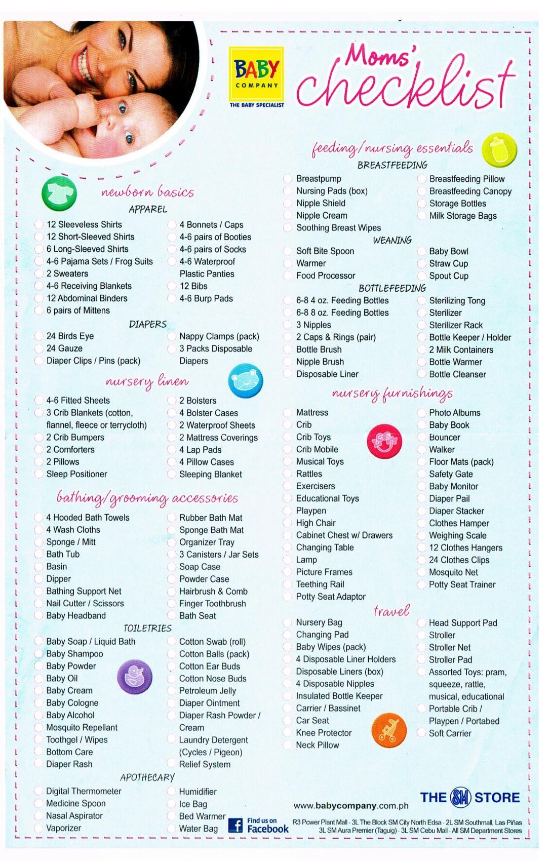 mom's check list, newborn checklist, newborn must haves