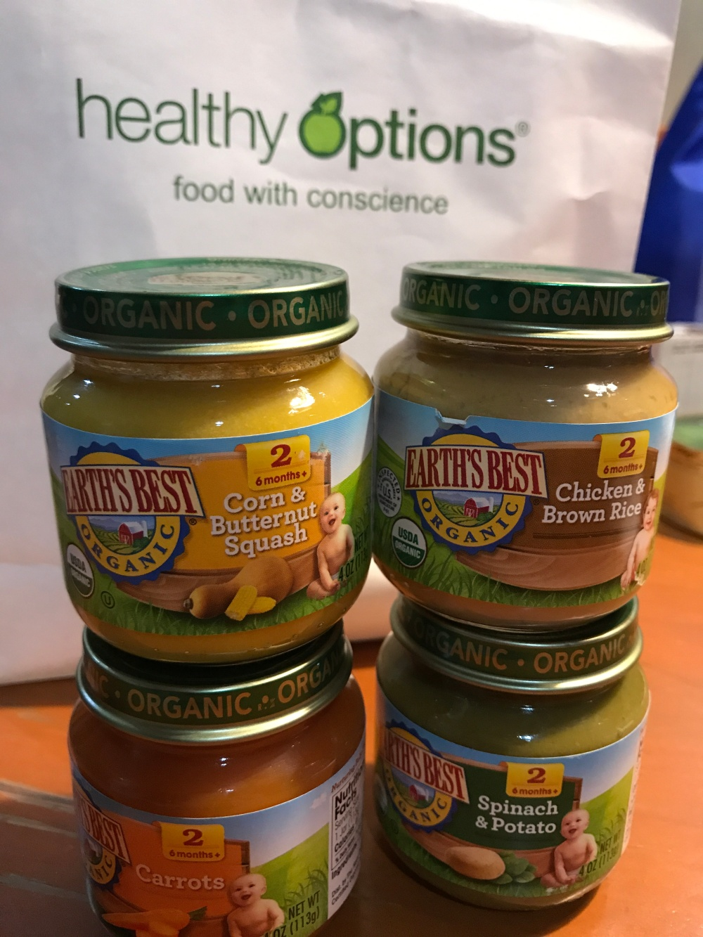 healthy options, earth's best baby food, jarred baby food