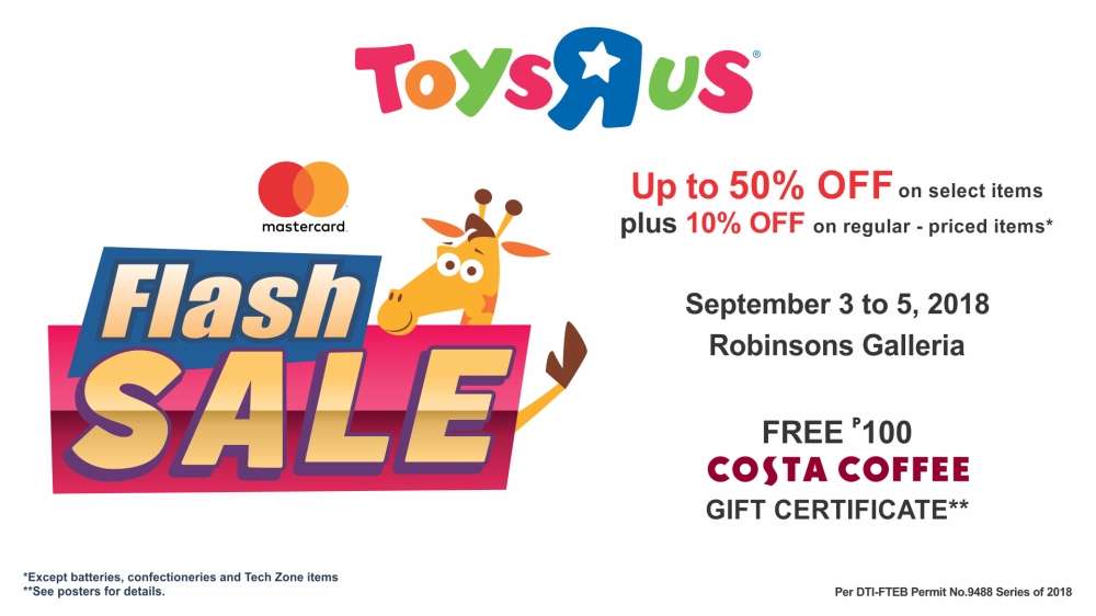 Toys R Us Flash Sale - Sep 3-5, 2018